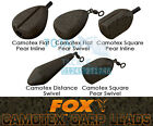 Fox NEW Camotex Carp Fishing Coated Leads Inline & Swivel x5 *All Types & Sizes*