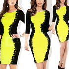 Hot Women Belted Draped Neck Colorblock Fitted Party Bodycon Dress Free Shipping
