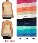 "WIDE 6"" LACE TRIM SPAGHETTI STRAP CAMISOLE TANK TOP LONG LENGTH PLUS XL 2XL 3XL"