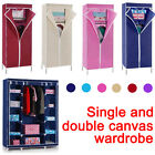 Foldable Single/Triple Clothes Wardrobe Hanging Rail Storage Cupboard Shelves UK