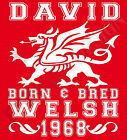 Welsh Born & Bred T-Shirt Personalised Name And Year Of Birth Wales Birthday