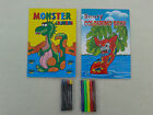 KIDS COLOURING BOOK,Scary or Monster,with Pens & Crayons,Educational,Fun,Gift