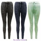 LADIES WOMENS ACID WASH DENIM DISCO JEANS SKINNY FIT HIGH WAISTED JEGGINGS PANTS