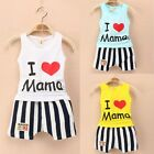 2PCS I Love Mama Baby Kids Girls Boys Vest T-Shirt Tops+Stripe Short Pants Sets