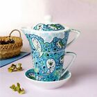 Tea for One Teapot Set with CUP SAUCER blue flower New Bone China Porcelain