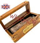 """Nautical Marine Spyglass Brass 16"""" Telescope with wooden case-High Quality lens"""