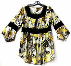 YUMMY PLUS YELLOW BLACK LACE FLORAL FLOWER BABY DOLL TUNIC SHIRT TOP  1X 2X 3X