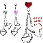 Surgical Steel Heart CZ Belly/Navel Ring Moving Dangle Handcuff-Pick Color(8616)