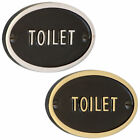 Toilet Sign in Black & Polished Brass or Chrome - Heavy Cast with Embossed Text