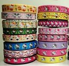 "Assorted 16 yards 22mm 7/8"" Hello Kitty Printed Grosgrain Ribbons DIY BOW"