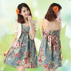 Sweet Girl Womens Casual Pretty Floral Flower Print V Neck Cotton Strap Dress WW