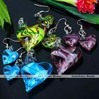 Murano Lampwork Glass Heart Hook Earring Pendant For Necklace Jewelry Set Gift