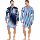 MENS TRADITIONAL 100% BRUSHED COTTON STRIPED NIGHTSHIRT WARM FLANNEL 33289