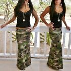 FOLD OVER WAIST USA ARMY GREEN CAMOUFLAGE CAMO MILITARY LONG MAXI SKIRT S M L XL
