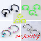 10pc Stainless Steel Horseshoe Screw Ball Nose Ring Stud Body Piercing