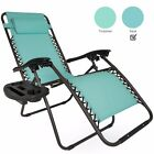1 Pair Black Blue Tan Zero Gravity Lounge Chairs Recliner Outdoor Patio Pool