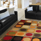 Contemporary Multi-Color Geometric Circles Area Rug Modern Squares Carpet