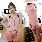 Vogue 2pcs Set Cut Out Hooded Top Shorts Pockets Womens Tracksuit Sport Suit