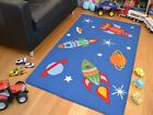 Small Large Boys Kids Space Ships Rockets Washable Non Slip Bedroom Floor Rugs