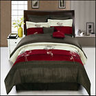 Portland Burgundy/Champagne with Coffee and burgundy 12-Piece Bed in a Bag