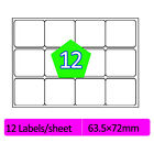 12 Labels Per A4 Sheet Address Labels Self Adhesive Sticky Peel Printer Inkjet