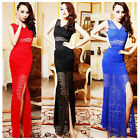 Sexy Womens Lace See-Through Sleeveless Bodycon Fishtail Party Long Maxi Dress