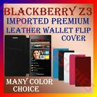 MULTI-COLOR IMPORTED PREMIUM LEATHER CASE for BLACKBERRY Z3 WALLET FLIP COVER