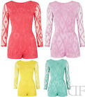 NEW LADIES WOMENS EVENING SUMMER LACE PATTERNED LONG SLEEVE PLAYSUIT SIZES 8-14