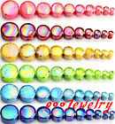 Pair(2) 4-20MM Dot Acrylic Double Flare Ear Tunnels Plugs Flesh Earlet Expander