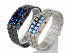 Men Digital Blue LED Display Wristwatch Alloy Band Bracelet Wrist Watch Band