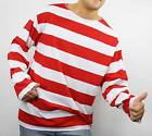RED and WHITE Striped Stripe Shirt WALDO Costume S M L XL XXL