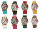 Women Lady Alloy Case China Rose PU Leather Band Quartz Wrist Watch Wristwatch
