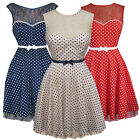 Friday On My Mind Deanna Lace Polka Dot Fit N Flare Retro 50S Pinup Party Dress