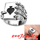 316L Stainless Steel Poker Spade Skull Skeleton Claw Finger Ring Gothic US9-12