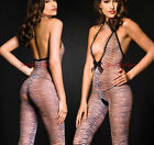 SeXy TIGER Animal Pring HALTER BODY STOCKING Plunging DEEP-V FRONT Crotchless OS