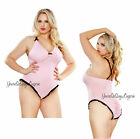 PLUS SIZE Pink MICROFIBER TEDDY Soft Touch Bodysuit SNAP CROTCH Gathered QUEEN