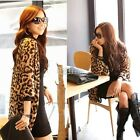 New Women Leopard Print Batwing Sleeve Chiffon Loose Cardigan Shirt Tops Blouse