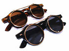 Retro Punk Steampunk Goggles Glasses Round Sunglasses Emo Flip Up Cyber