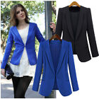 Women Solid Slim Lapel Blazer Suit Jacket Coat Career Top Work Outerwear S-3XL