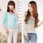Womens Vintage Loose Sequin Bow Backless Knit Jumper Pullover Sweater Top Coat