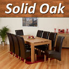 100% Solid Oak Dining Table Set Room Furniture with 6 8 Leather Chair Oil finish