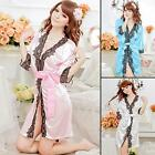 Women Sexy Satin Lace Robe Sleepwear Lingerie Nightdress G-string Pajamas SWTG