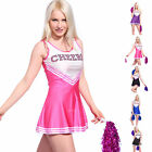 Sexy High School Girl Cheerleader Hen Party Uniform Costume w/ Pompoms