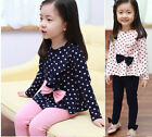 New Baby Kids Girls Autumn Bowknot Tops + Leggings Pants 2PCS Sets Outfits