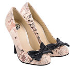 T.u.k. Retro Lingerie Print Bombshell Vintage Bow Stiletto High Heel Shoes