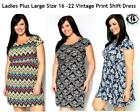 LADIES PLUS SIZE 16 - 24 VINTAGE PRINT CASUAL DRESS BOHO SKATER TUNIC TOP BLOUSE