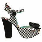 Irregular Choice Love Bug Black Gingham Rockabilly Kitsch Vintage Heels Sandals