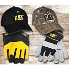CAT Premium Leather Palm Work Gloves and LED Hat Set (Choice of 2 Styles)