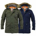 Mens Fish Tail Jacket Canvas Parka Coat Tokyo Laundry Hooded Double Layer Fur