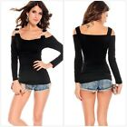 Sexy Women Unique Long Sleeve Crystal C-Buckle Boat Neck Cut Out Shoulder tshirt
